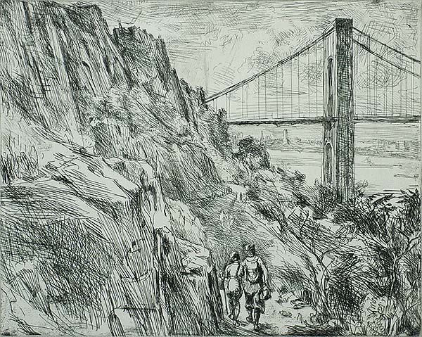 George Washington Bridge (Palisades) - REGINALD MARSH - etching