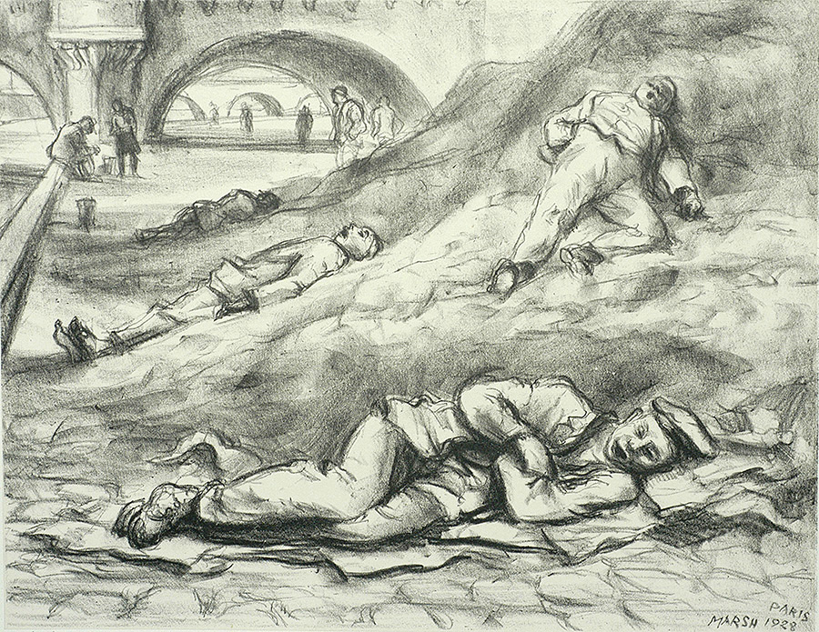 Along the Seine - REGINALD MARSH - lithograph