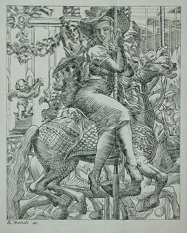 Merry-go-Round - REGINALD MARSH - engraving and etching