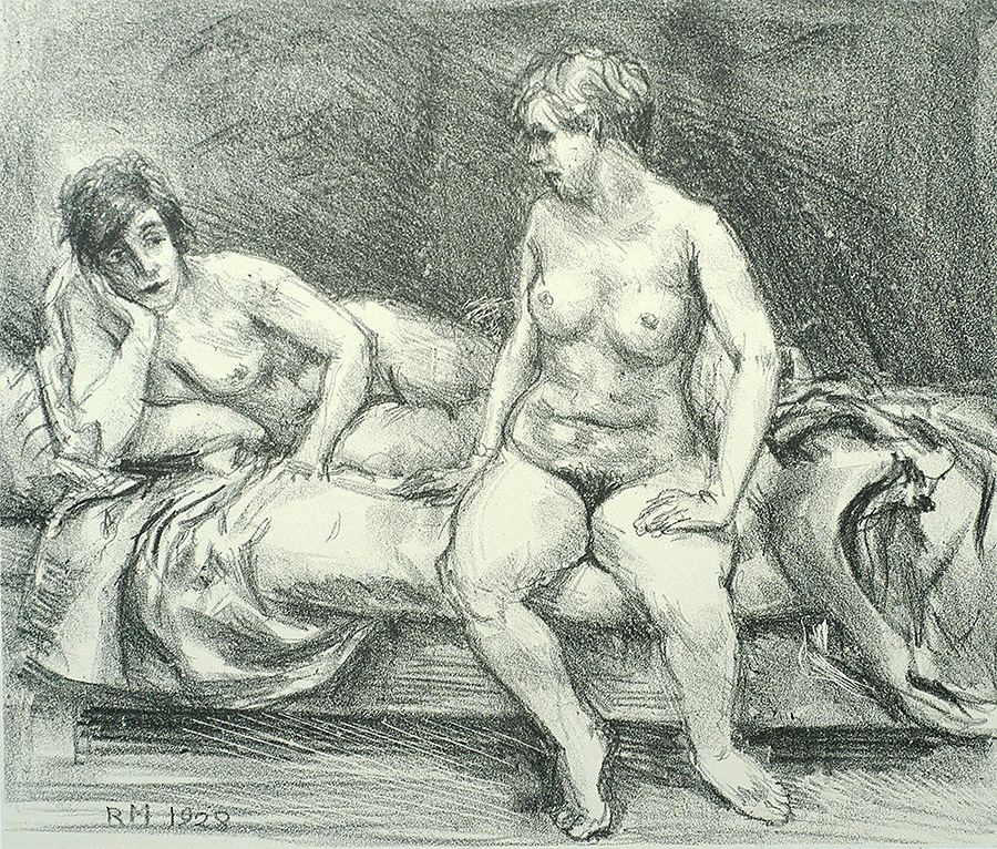 Two Models on a Bed - REGINALD MARSH - lithograph