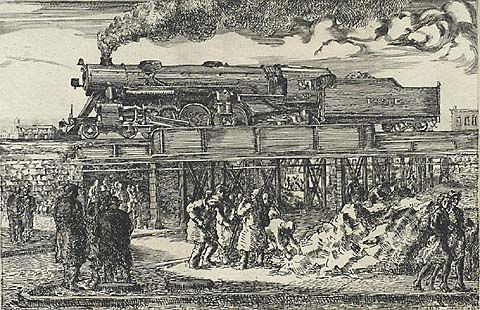 Jersey City Landscape - REGINALD MARSH - etching and engraving