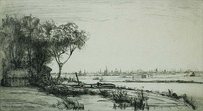 Amsterdam from Ransdorp - JAMES MCBEY - etching