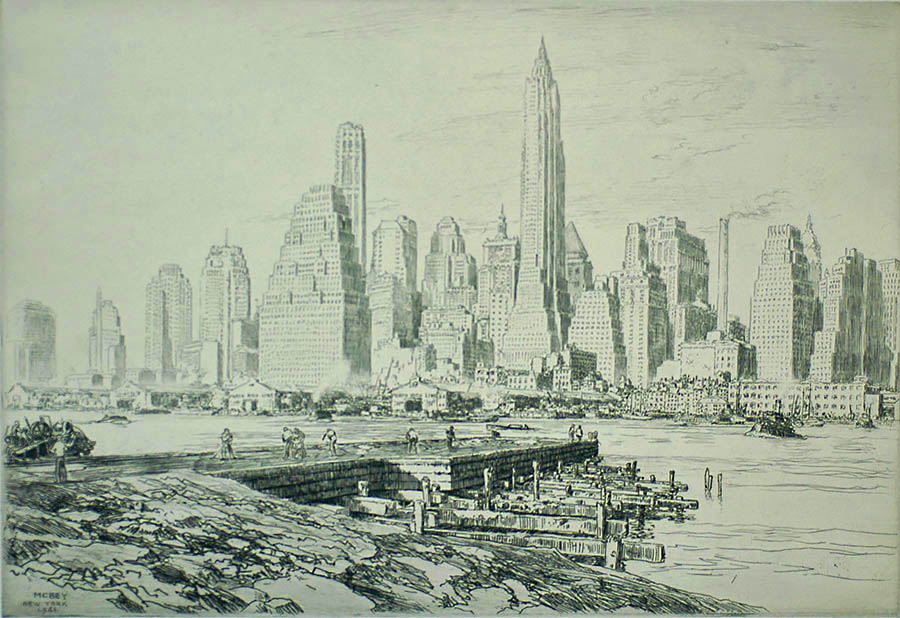 New York Harbour - JAMES MCBEY - etching
