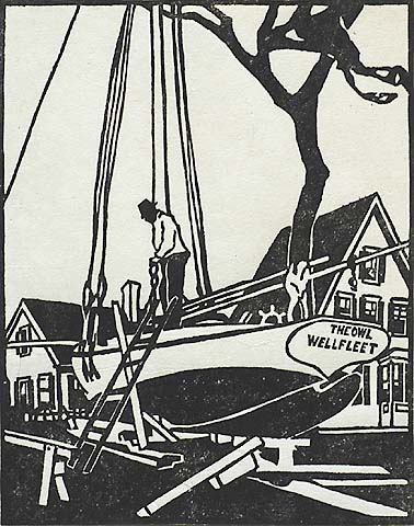The Shipyard, (Provincetown) - MILDRED MCMILLEN - woodcut