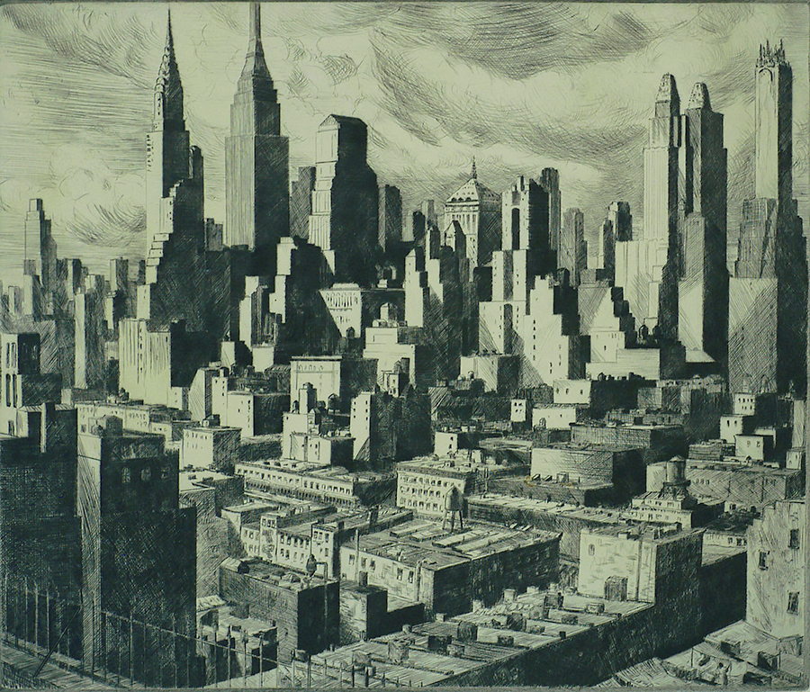 Towers in the Sun - WILLIAM MCNULTY - etching and drypoint