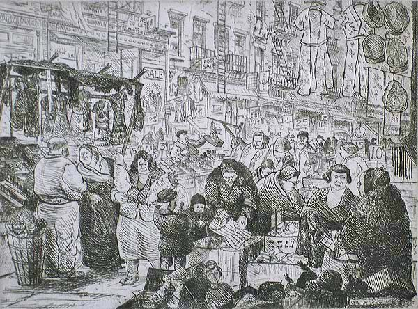 Orchard Street, New York - WILLIAM MCNULTY - etching