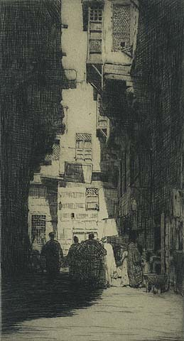 Tangiers, Street Scene - MORTIMER MENPES - etching and drypoint