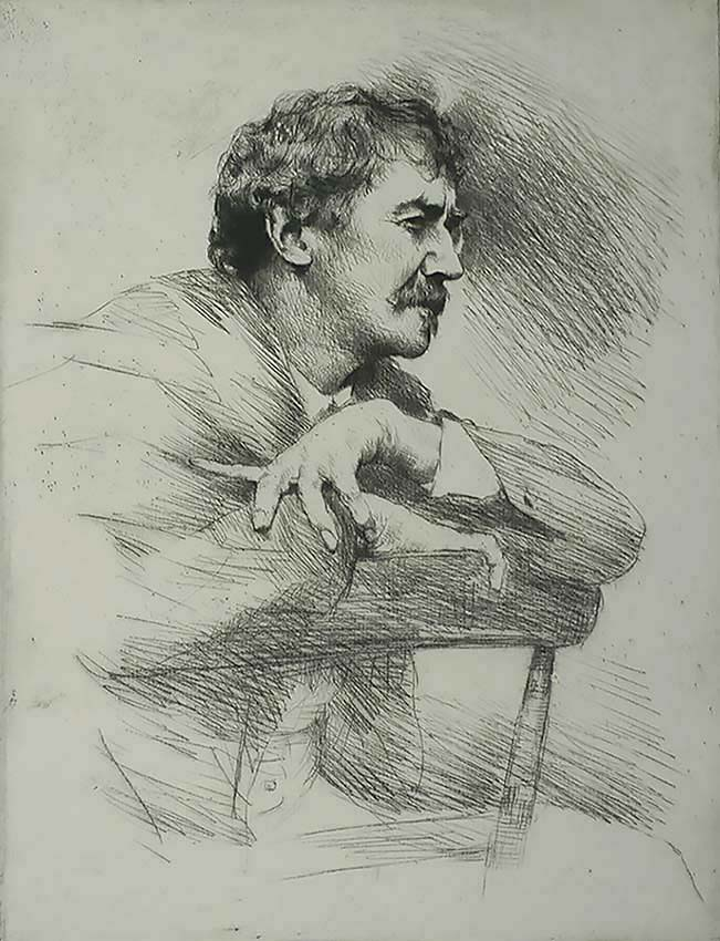 Whistler, No. 11 (Portrait of Whistler, Seated, Right Profile) - MORTIMER MENPES - etching and drypoint