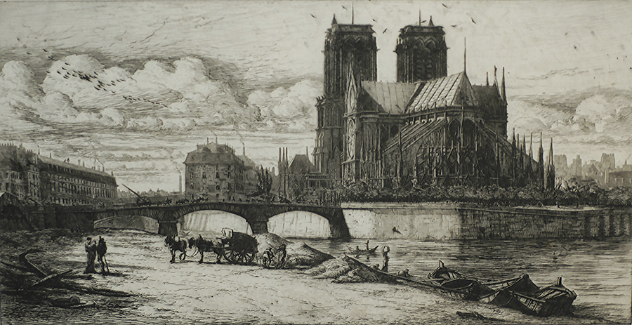 L'Abside de Notre Dame - CHARLES MERYON - etching with drypoint