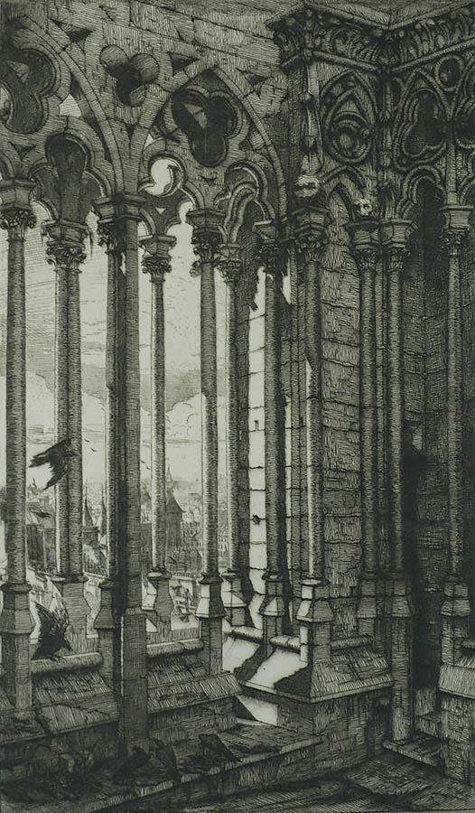 La Galerie Notre Dame - CHARLES MERYON - etching with engraving