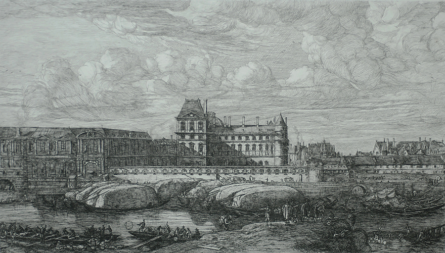 L'Ancien Louvre, Paris (The Old Louvre, Paris, after Zeeman) - CHARLES MERYON - etching