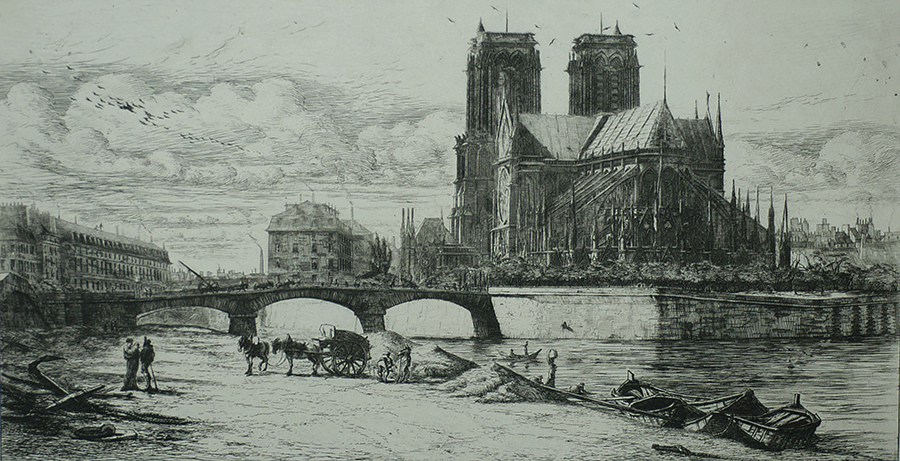 L'Abside de Notre Dame (The Apse of Notre Dame) - CHARLES MERYON - etching and drypoint