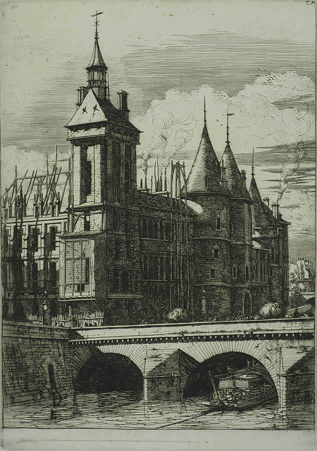 La Tour de l'Horloge (The Clock Tower) - CHARLES MERYON - etching with engraving
