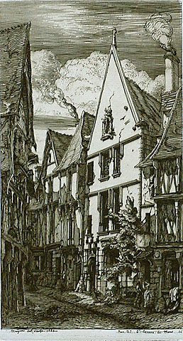 La Rue des Toiles, A Bourges - CHARLES MERYON - etching
