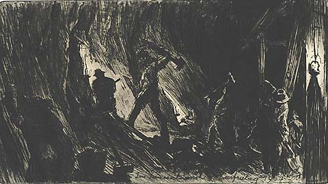 Miners in a Tunnel - LUDWIG MICHALEK - etching