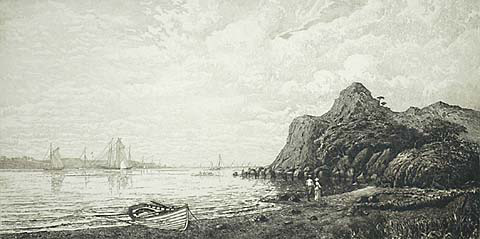 Newport Harbor from Beacon Rock - CHARLES F. W. MIELATZ - etching with remarque