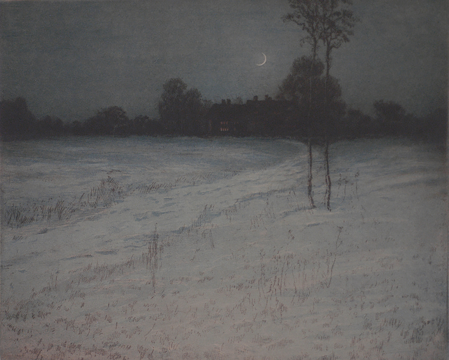 Winter Night - CHARLES F. W. MIELATZ - etching and aquatint printed in color