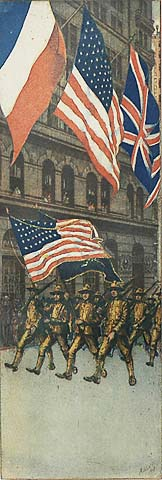 The Flag - CHARLES F. W. MIELATZ - color etching and aquatint with added pencil work on the legs of the soldiers