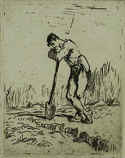 Man Leaning on a Spade (L'homme Appuye sur sa Beche) - JEAN-FRANCOIS MILLET - etching