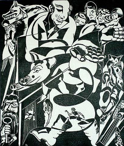 Modernist Scene with Figures - JORIS MINNE - woodcut