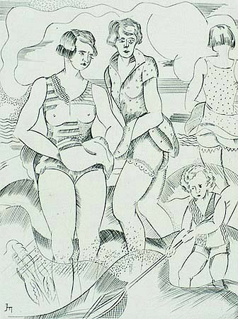 Bathers - JORIS MINNE - engraving