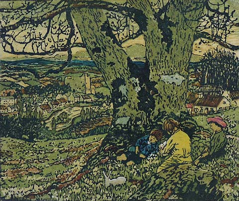 An Old Story - ROBERT J. ENRAGHT MOONY - woodcut printed in colors