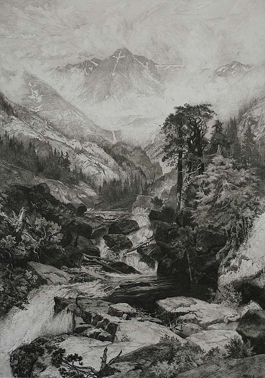 Mountain of the Holy Cross, Colorado - THOMAS MORAN - etching