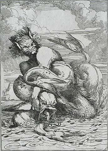 Enrag'd Monster - JOHN HAMILTON MORTIMER - etching