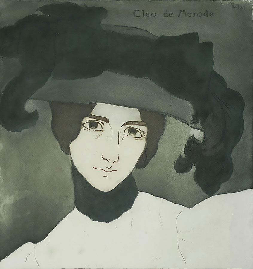 Cléo de Mérode - ALFREDO MULLER - etching and aquatint printed in colors