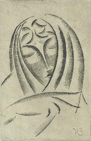 Female Head, Draped #3 - ELIE NADELMAN - drypoint