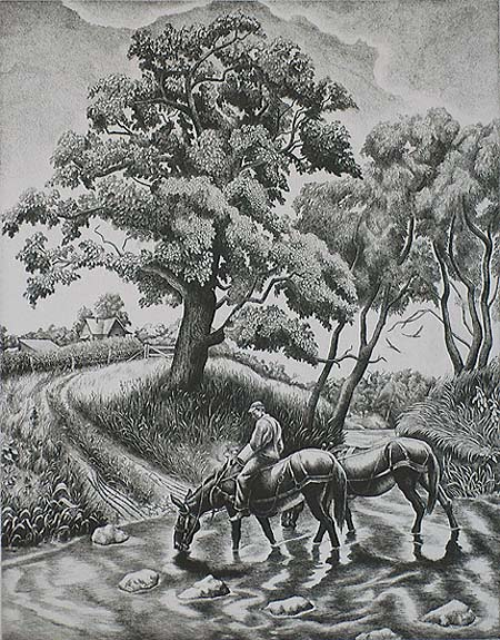 Watering Place - JACKSON LEE NESBITT - etching