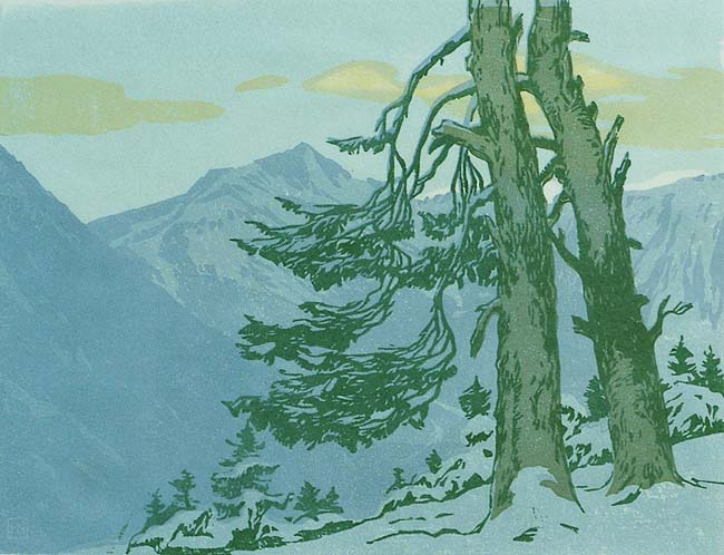 Alpine Mountain Scene - HANS NEUMANN - woodcut printed in colors