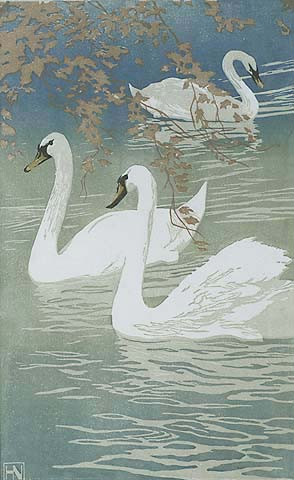 Swans - HANS NEUMANN - woodcut printed in colors