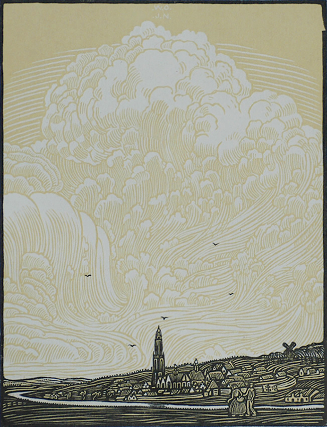 Rhenen (Holland) - WOJ NIEUWENKAMP - woodcut printed in colors