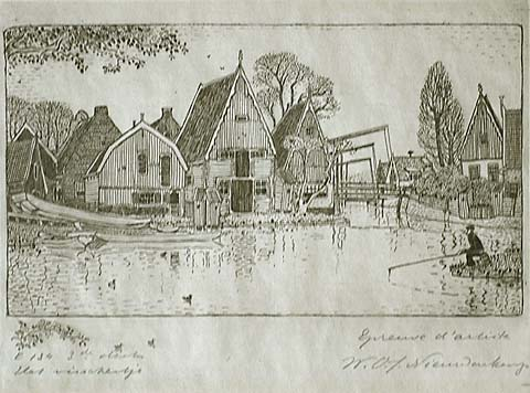 The Little Fisherman (Het Visschertje) - WOJ NIEUWENKAMP - etching