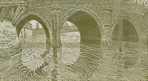 Bridge at Mechelen (Belgium) - WOJ NIEUWENKAMP - woodcut printed in color