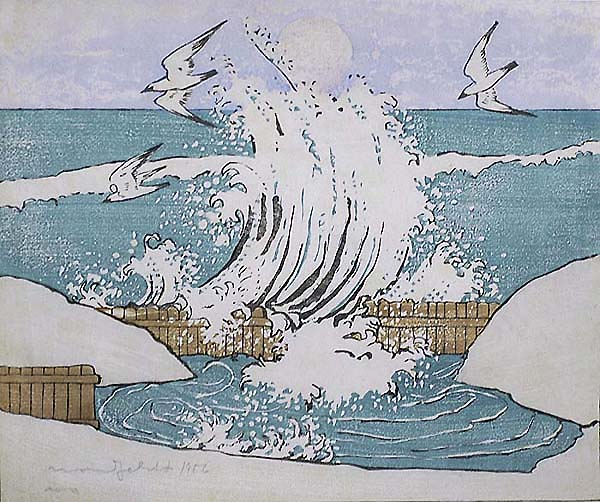 The Wave, Moonrise - BJO NORDFELDT - woodcut printed in colors
