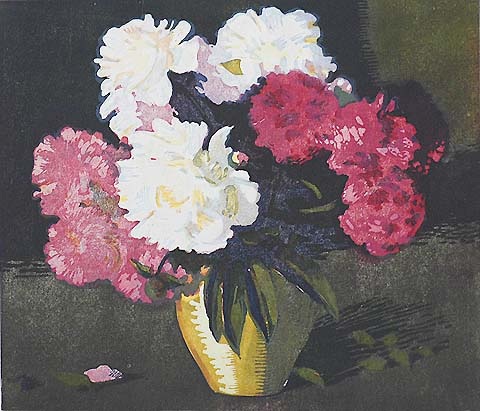 Peonies - LOUIS NOVAK - woodcut printed in colors