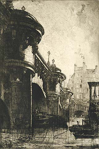 Pont-Neuf, Paris - LOUIS ORR - etching