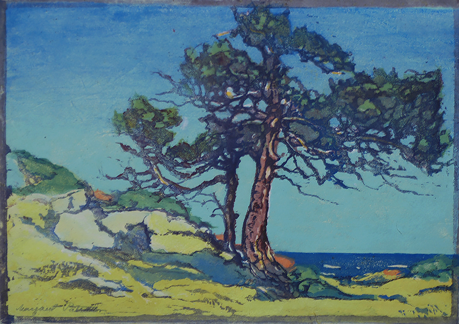 Coast Cedars - MARGARET PATTERSON - woodcut printed in colors
