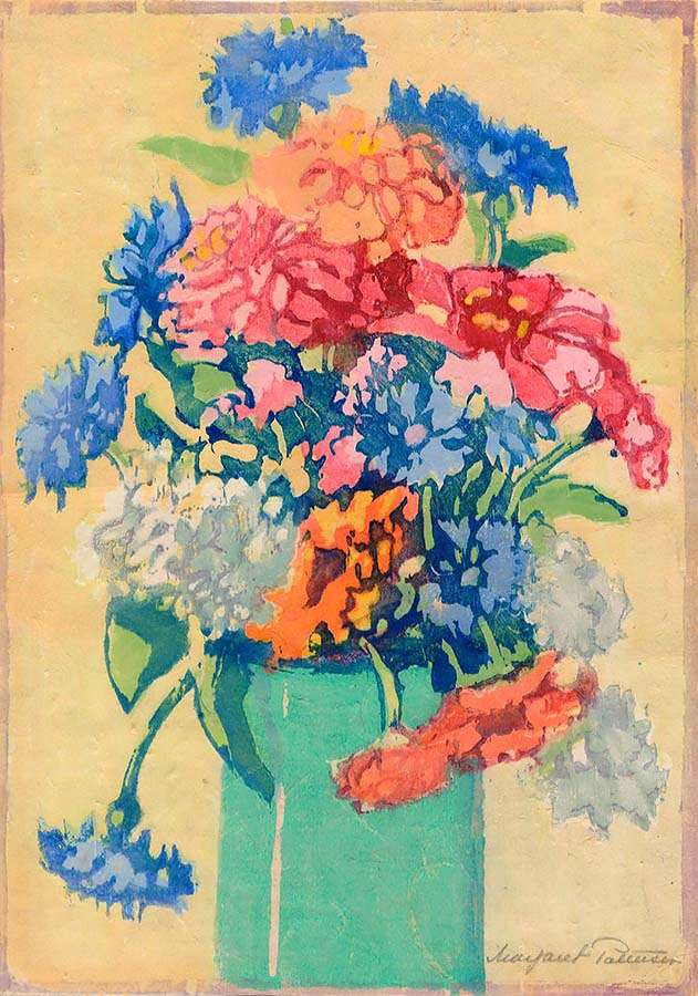 Grandmothers's Flowers (Zinnias) - MARGARET PATTERSON - woodcut printed in colors