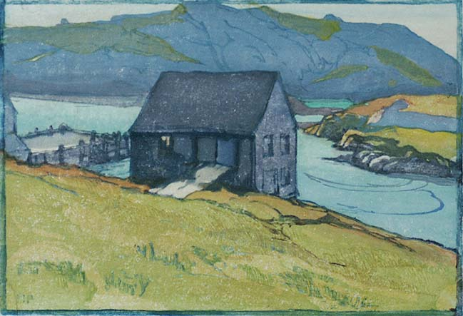Monhegan (Maine) - MARGARET PATTERSON - woodcut printed in colors