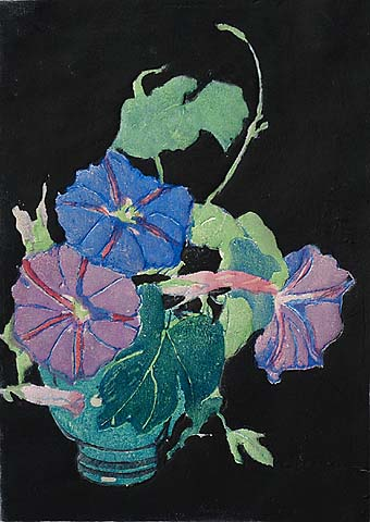 Morning Glories - MARGARET PATTERSON - woodcut printed in colors