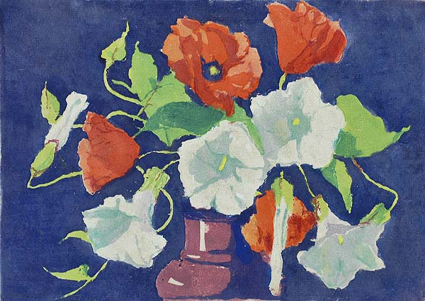 Poppies and Convolvolus - MARGARET PATTERSON - woodcut printed in colors