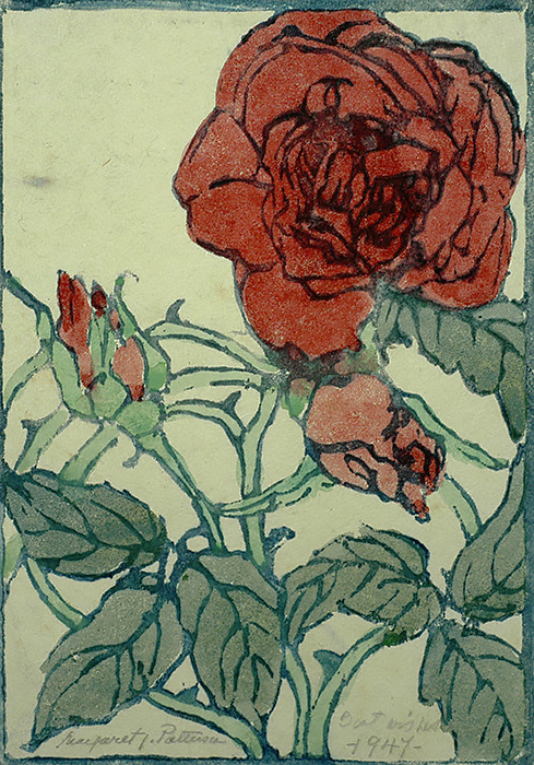 Rose with Vine and Bud - MARGARET PATTERSON - woodcut