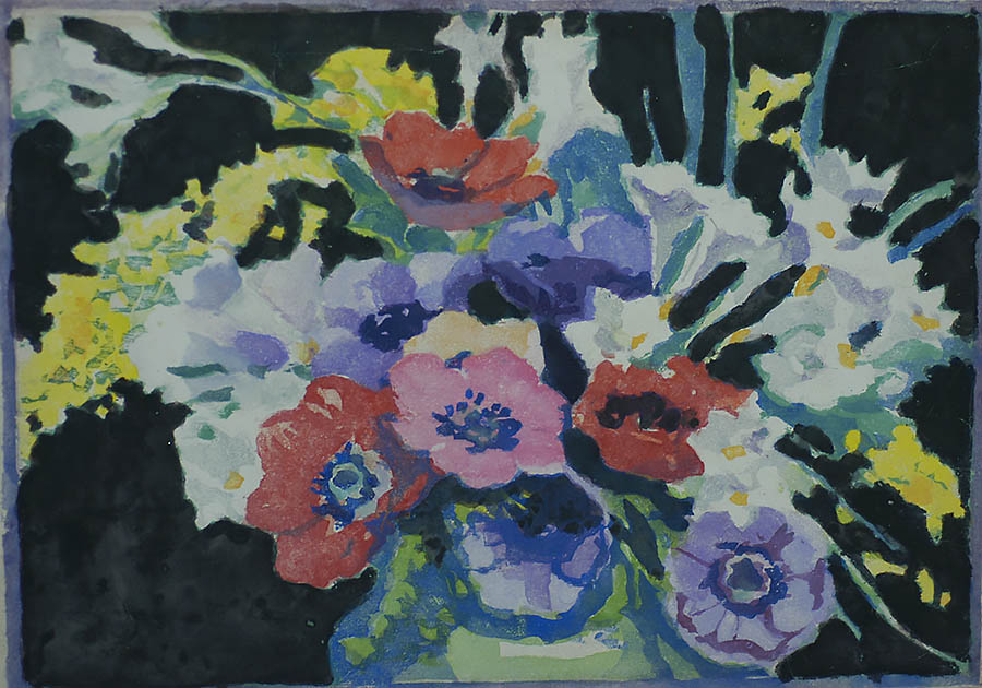 Spring Flowers - MARGARET PATTERSON - woodcut printed in colors