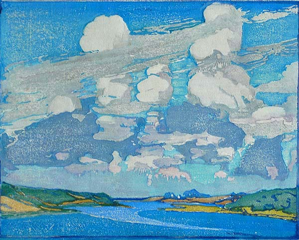 Summer Clouds - MARGARET PATTERSON - woodcut printed in colors