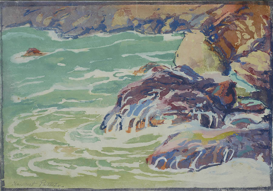 Surf and Rocks - MARGARET PATTERSON - woodcut printed in colors