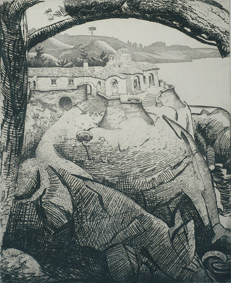 House and Rock, Carmel Highlands - RALPH PEARSON - etching