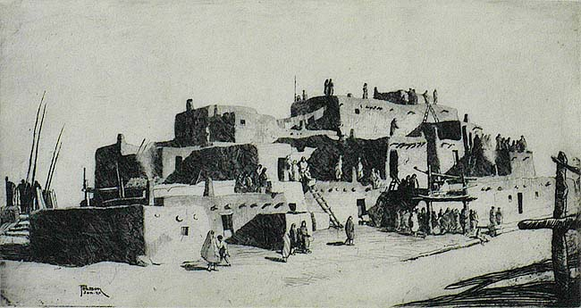 Taos Pueblo, New Mexico - RALPH PEARSON - etching
